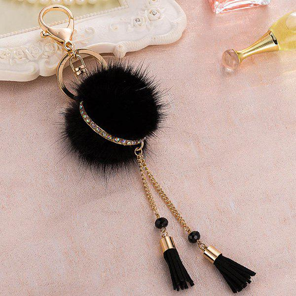 Outfits Bag Keychain Faux Fur Ball Two Tassel Keyring