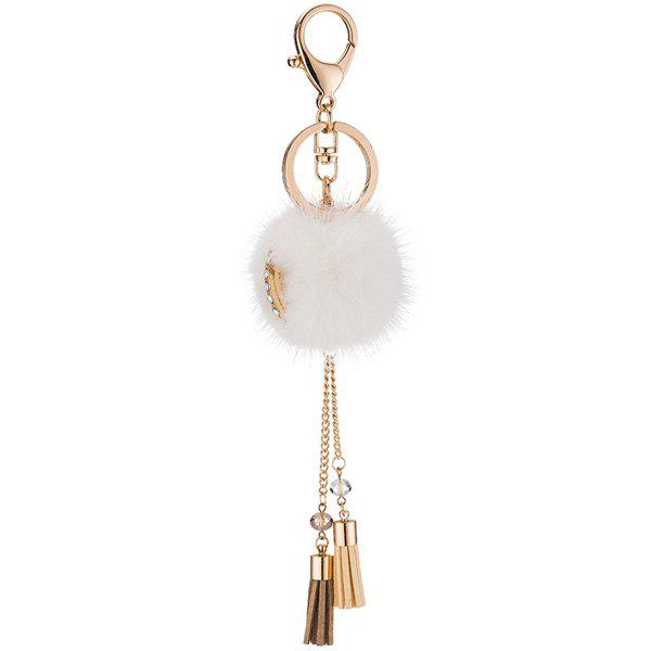 New Bag Keychain Faux Fur Ball Two Tassel Keyring