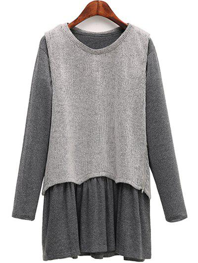 Shops Casual Knitted Tank Top + Long Sleeve Dress Plus Size Twinset