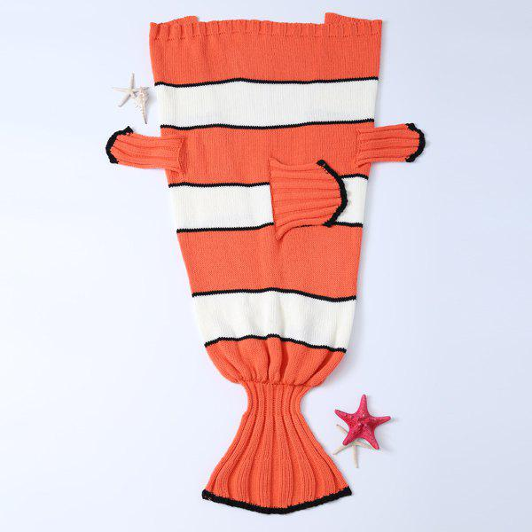 Buy Stripe Cartoon Knitted Clownfish Blanket and Throws For Kids