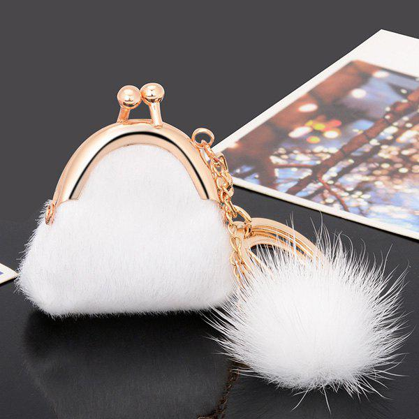 Affordable Mini Bag Faux Fur Ball Embellished Keyring