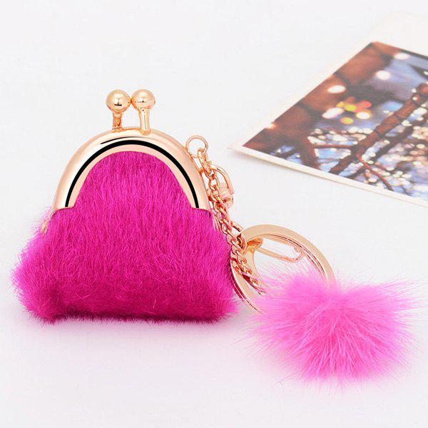 Online Mini Bag Faux Fur Ball Embellished Keyring