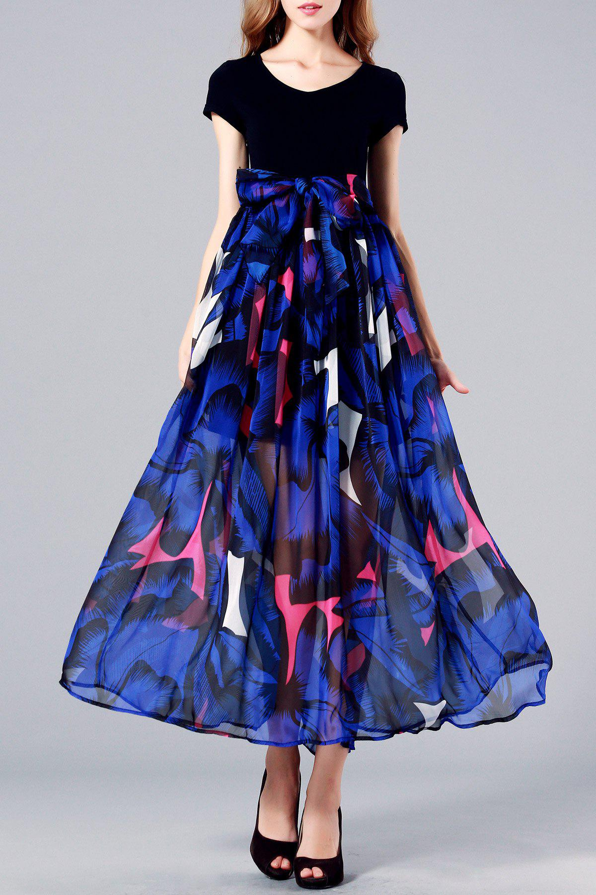 Store Pleated Floral Maxi Short Sleeve Swing Dress