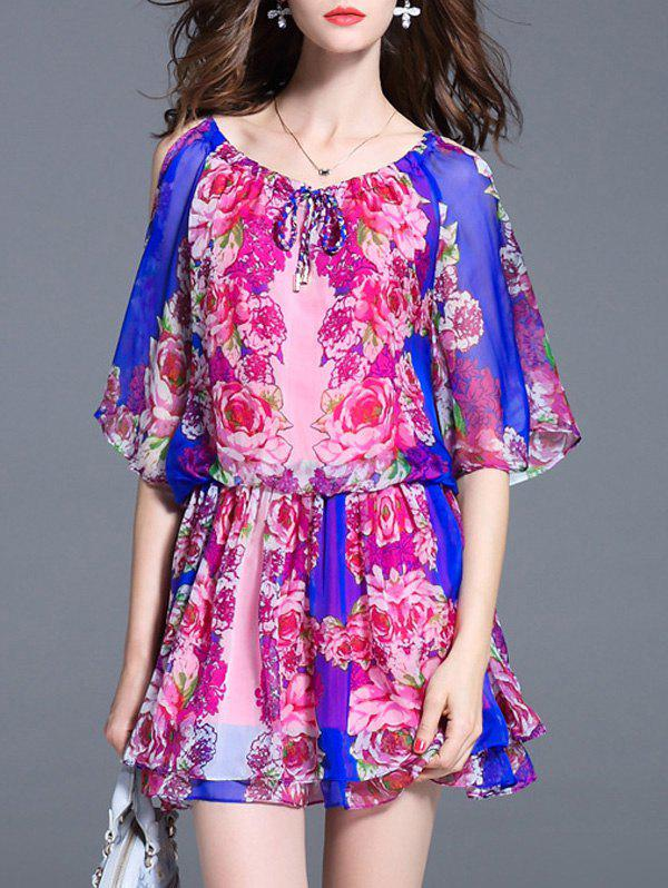 Cheap Charming Batwing Sleeve Floral Print Cut Out Women's Dress