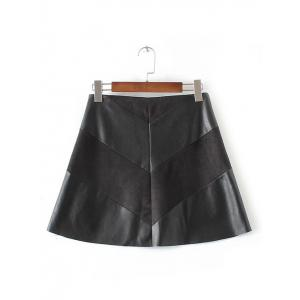 High-Waisted Faux Leather Mini Zippered Skirt