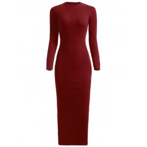 Maxi Long Sleeve Ribbed Winter Knit Dress