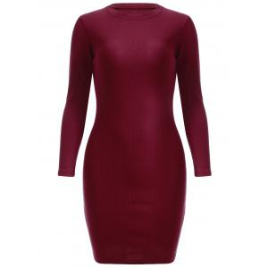 Simple Pure Color Sheath Long Sleeve Knitted Dress - Wine Red - One Size