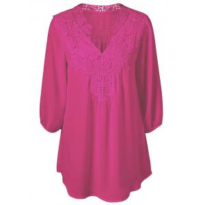 Plus Size Sweet Crochet Spliced Tunic Blouse - Rose Red - 2xl