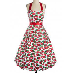 Strawberry Print Bowknot Cocktail Dress - Red - Xl