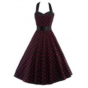 Halter Open Back Polka Dot Cocktail Dress - Red With Black - S