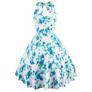 Vintage Halter Neck Floral Print Party Cocktail Print Dress