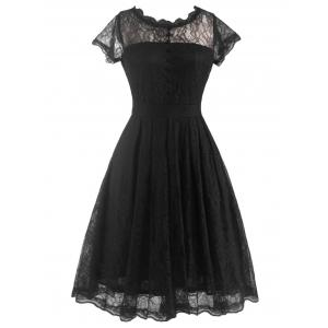 Funky Short Wedding A Line Dress With Sleeves - Black - L