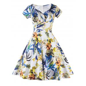 V Neck Floral Print Fit and Flare Cocktail Dress