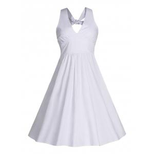 Back Bowknot Swing Cocktail Dress - White - S