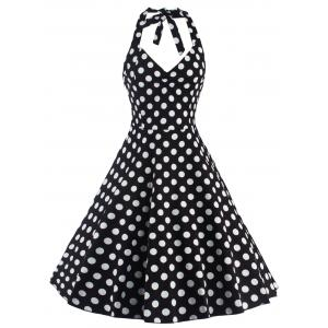 Polka Dot Halter Pin Up Flare Robe sans manches