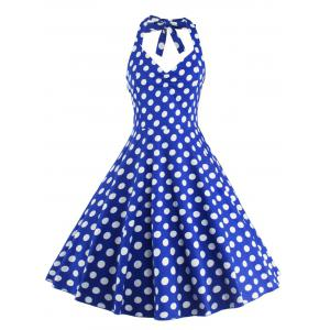 Polka Dot Halter Pin Up Flare Sleeveless Dress - Blue - S