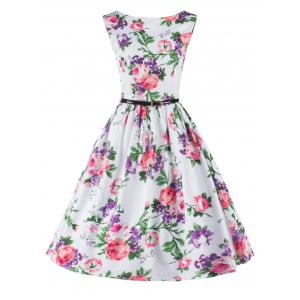 Sleeveless Floral Flare Cocktail Dress