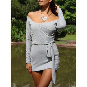 Off The Shoulder Long Sleeve Plain Bodycon Bandage Dress - Gray - S