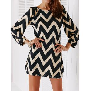 Chic Color Block Zig Zag Printed Dress For Women - Black - S