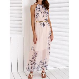 Chic Round Collar Sleeveless Floral Print Women's Maxi Dress