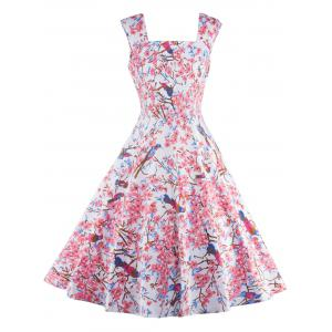 Sleeveless Floral Print Cocktail Dress - Pink - M