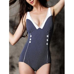 Fashionable Printed Buttoned Swimwear For Women