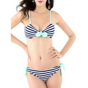 Striped Bowknot Design Padded Bikini
