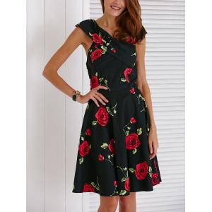 Retro V-Neck Rose Print Short Sleeve Ball Dress For Women