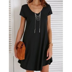 V-Neck Loose Casual Dress Outfit With Sleeves - Black - L