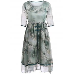 Elegant Floral Print Two-Layered Belted Full Dress