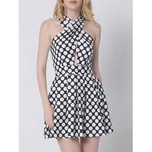 Crossover Cut Out Polka Dot Dress