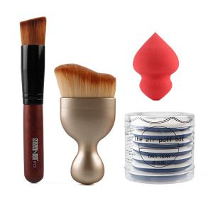 Stylish 4 Pcs/Set BB Cream Air Cushion Puffs + Foundation Brush + Wave Shape Blush Brush + Sponge Blender
