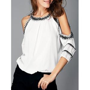 Fashionable Cut Out Fringed Splicing Women's Blouse