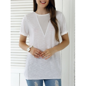 Casual Solid Color Eyelet Long T-Shirt