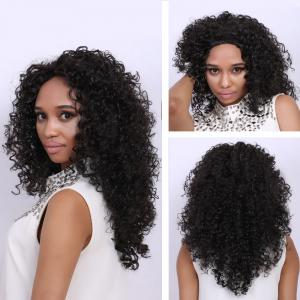 Medium Deep Brown Afro Curly Faddish Medium Synthetic Hair Wig For Women