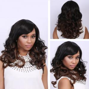 Medium Mixed Color Side Bang Wavy Fashion Medium Synthetic Hair Wig For Women