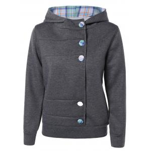 Colorful Button Pocket Hooded Coat - Deep Gray - L