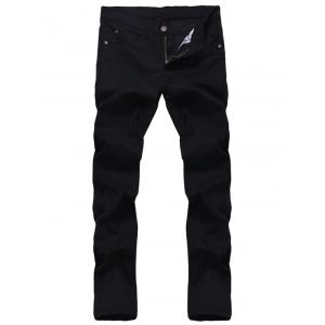 Solid Color Zipper Fly Straight Leg Jeans For Men - Black - 34