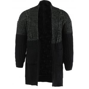 Color Spliced Collarless Long Sleeve Cardigan For Men