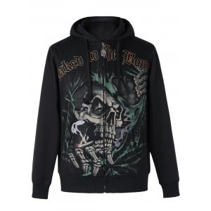 Active Skull Print Zipper Flying Long Sleeve Thicken Hoodie For Men
