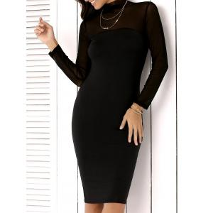 High Neck Mesh Insert Long Sleeve Bodycon Dress