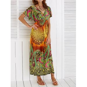 Boho Ethnic Print Short Sleeve Maxi Beach Dress