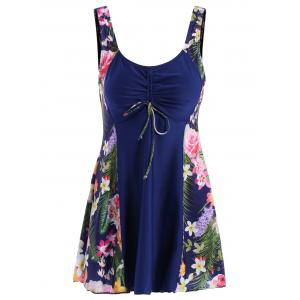 Chic Scoop Collar Leaf Print Plus Size One-Piece Women's Swimsuit