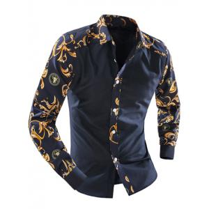 Ornate Print Splicing Turn-down Collar Long Sleeve Shirt For Men