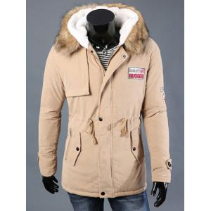 Drawstring Waist Patched Faux Fur Hooded Long Sleeve Padded Coat For Men