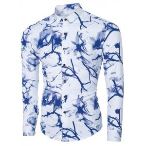 Ink Floral Print Turn-down Collar Long Sleeve Shirt For Men