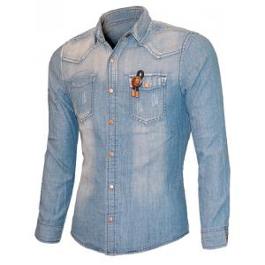 Scratched Pockets Front Long Sleeve Light Denim Shirt