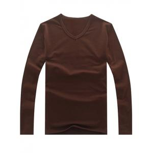 Long Sleeve Plain V Neck T Shirt