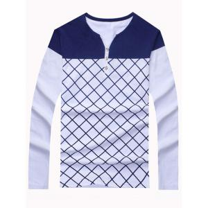 Fashion Color Blocks Long Sleeve Checked Tee For Men - White - L