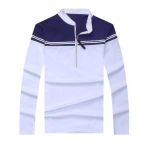 Trendy Color Blocks Stand Collar Long Sleeve Tee For Men